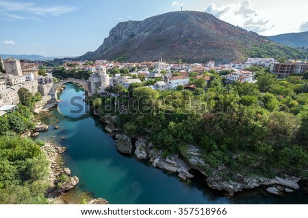 Aerial view on Mostar city with Old Bridge, Bosnia and Herzegovina - stock photo