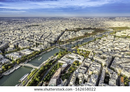 Aerial View on Paris from the Eiffel Tower, France   - stock photo