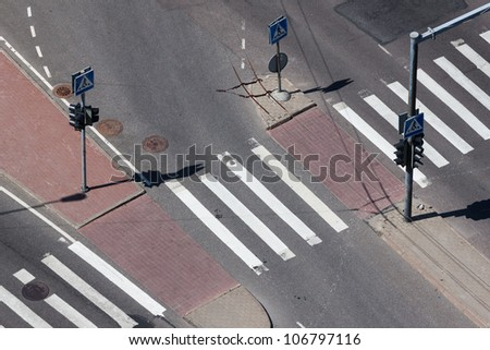 Aerial View on pedestrian crossing with traffic light - stock photo