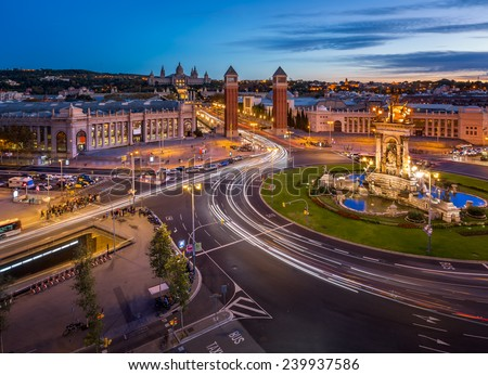 Aerial View on Placa Espanya and Montjuic Hill with National Art Museum of Catalonia, Barcelona, Spain - stock photo