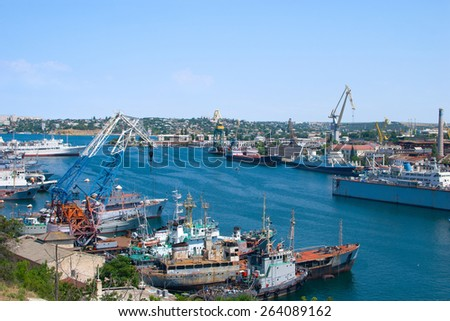 Aerial view on port of Sevastopol, ships are moored in the docks - stock photo