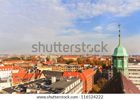 Aerial view on Roofs of Copenhagen, Denmark - stock photo