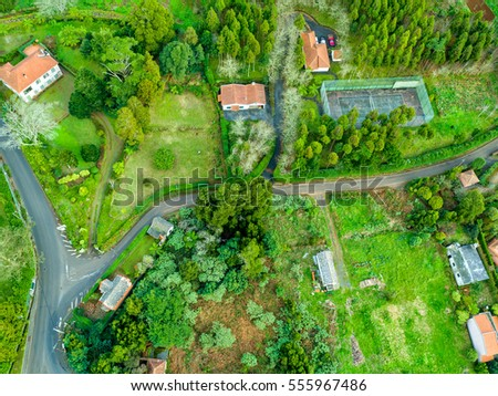Aerial View on Rural Countryside, Madeira island