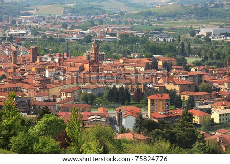 Aerial view on San Lorenzo cathedral and old town of Alba in Piedmont, northern Italy.