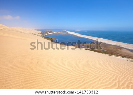 Aerial view on Sandwich harbour in Namibia, Africa - stock photo