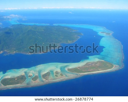 Aerial view on small islands, French Polynesia - stock photo