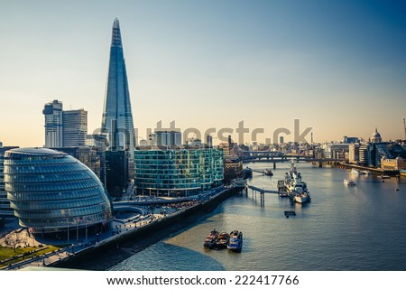 Aerial view on thames and london city - stock photo