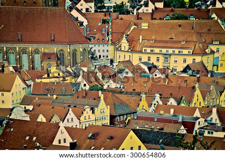 Aerial View on the Bavarian City of Landshut in Germany, Retro Image Filtered Style