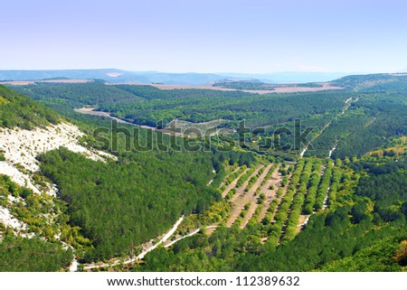 Aerial view on the Crimean mountains covered with trees in September