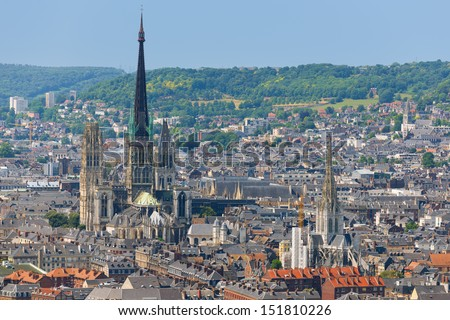 Aerial view on the Notre-Dame Cathedral in Rouen
