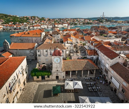 Aerial View on Trogir and it's Main Square from Cathedral of Saint Lawrence, Croatia