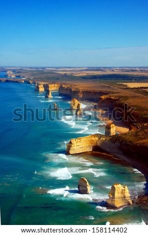 Aerial view on Twelve Apostles, Great Ocean Road, Australia. - stock photo