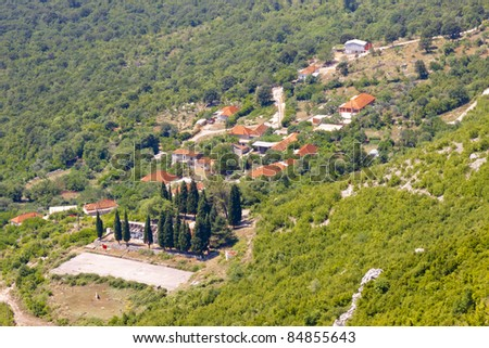 Aerial view on typical village in Montenegro near Skadarsko lake. Balkans - stock photo