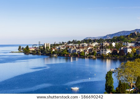 Aerial view onto surrounding buildings in Montreux - stock photo