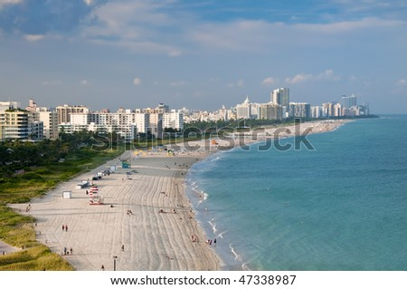 Aerial View or Miami Beach, condo units and art deco buildings with ocean view. - stock photo