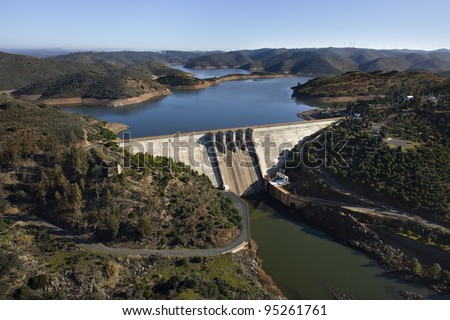 Aerial view over a dam in Andalusia, Spain - stock photo