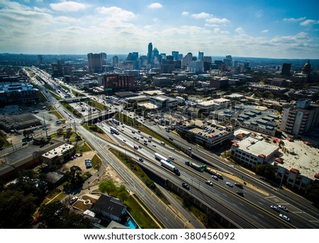 Aerial View over Austin Texas Interstate 35 busy traffic sunny day Capital City Cityscape Urban Skyline - stock photo