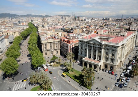 Aerial view over Barcelona from Mirador de Colom