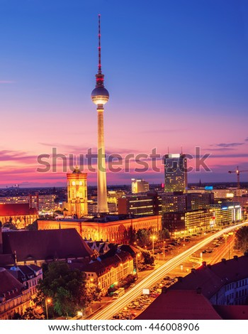 Aerial view over Berlin in Germany on a sunset. This image is toned. - stock photo