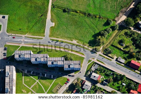 aerial view over buildings - stock photo