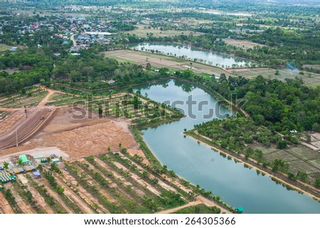 Aerial view over countryside - stock photo
