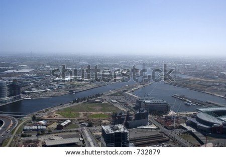 Aerial view over downtown Melbourne in Australia