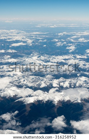 Aerial view over himalayas in Tibet.