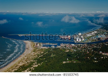 Aerial view over industrial port of Ventspils, Latvia