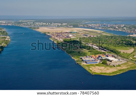 Aerial view over industrial zone at port of Riga, Latvia - stock photo