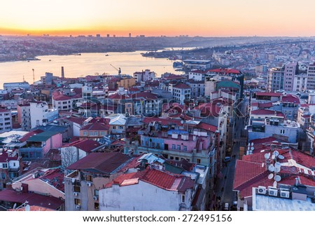 aerial view over Istanbul and the Golden Horn in Turkey - stock photo