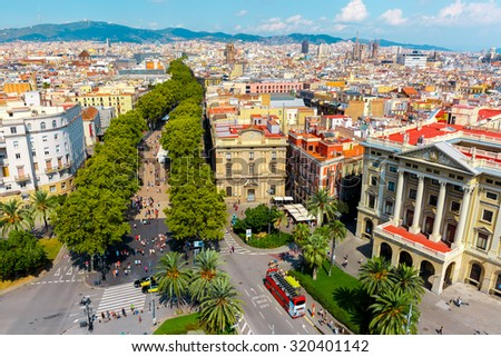 Aerial view over La Rambla from Christopher Columbus monument, with quarters of El Raval to the left and Barri Gotic to the right in Barcelona, Catalonia, Spain - stock photo