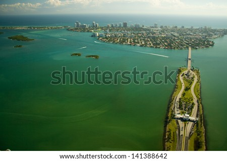 Aerial view over Miami in Florida. - stock photo