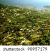 aerial view over monaco monte carlo from la turbie on the french riviera - stock photo