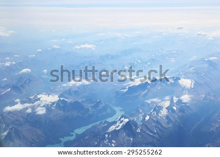 Aerial view over mountains in Canada.