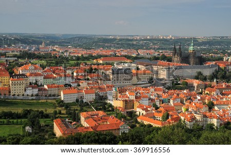 Aerial view over Old Town Hradcany Castle District in Prague