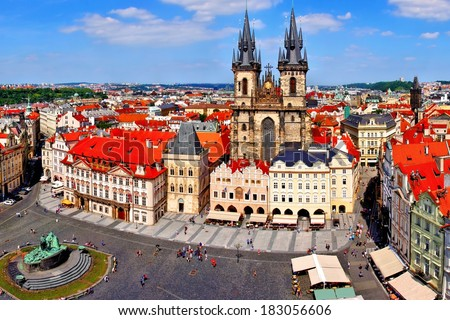Aerial view over Old Town Square, Prague, Czech Republic                      - stock photo