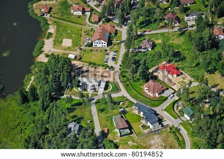 Aerial view over private cottages near lake