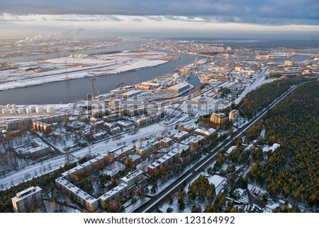 aerial view over Riga industrial port - stock photo
