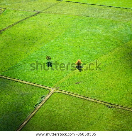 aerial view over rural landscape in autumn - stock photo
