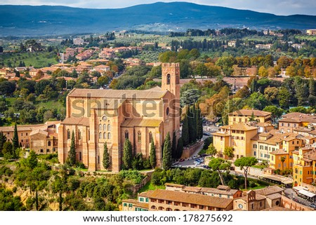 Aerial view over Siena, Italy - stock photo