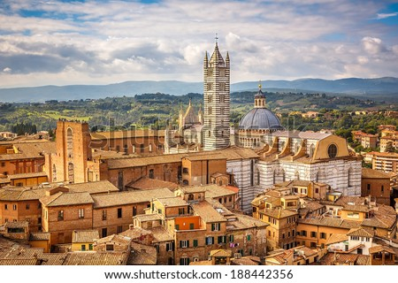 Aerial view over Siena: Siena Cathedral - stock photo