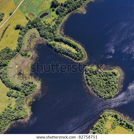 Aerial view over small pools - stock photo