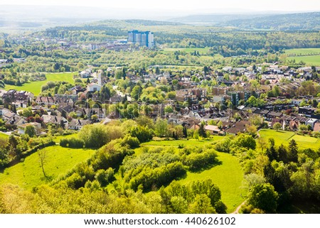 Aerial view over the city of Bamberg (Franconia, Germany) - stock photo