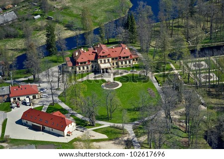 aerial view over the Dikli palace - stock photo
