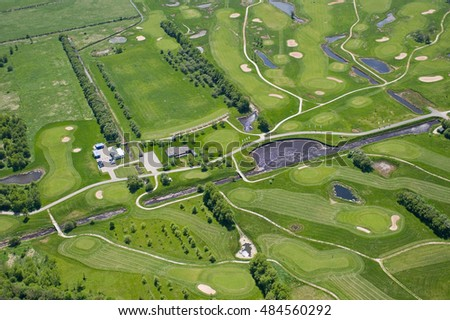 aerial view over the golfing fields