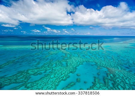 Aerial View over the Great Barrier Reef, Queensland, Australia - stock photo
