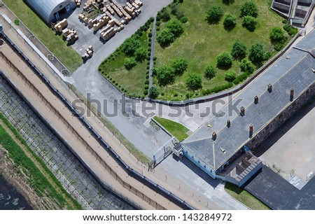 aerial view over the high security prison - stock photo