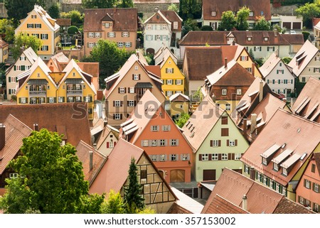 Aerial View over the historic town of Dinkelsbuehl - stock photo