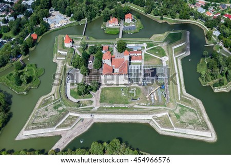 aerial view over the Kuressaare castle