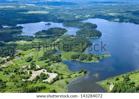 aerial view over the lakes - stock photo